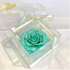 Бірюзовий стабілізований бутон троянди в подарунковій коробці Lerosh - Premium