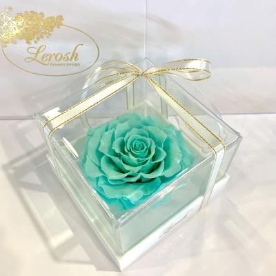 Бірюзовий стабілізований бутон троянди в подарунковій коробці Lerosh - Premium ORIGINAL