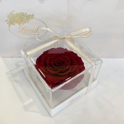 Бордовый стабилизированный бутон розы в подарочной коробке Lerosh - Premium