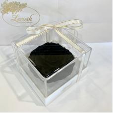Чорний стабілізований бутон троянди в подарунковій коробці Lerosh - Premium