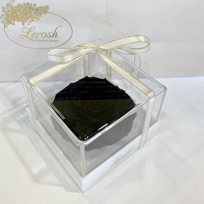 Чорний стабілізований бутон троянди в подарунковій коробці Lerosh - Premium ORIGINAL