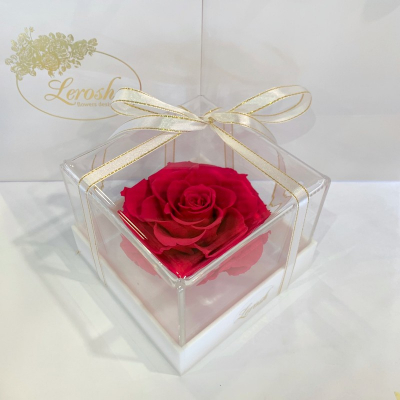 Малиновий стабілізований бутон троянди в подарунковій коробці Lerosh - Premium ORIGINAL