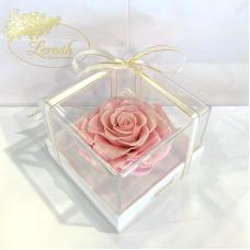 Рожевий Перловий стабілізований бутон троянди в подарунковій коробці Lerosh - Premium