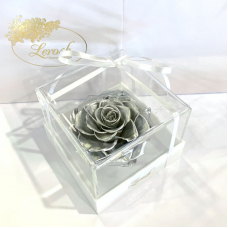 Срібний стабілізований бутон троянди в подарунковій коробці Lerosh - Premium