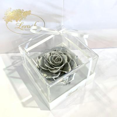 Срібний стабілізований бутон троянди в подарунковій коробці Lerosh - Premium ORIGINAL