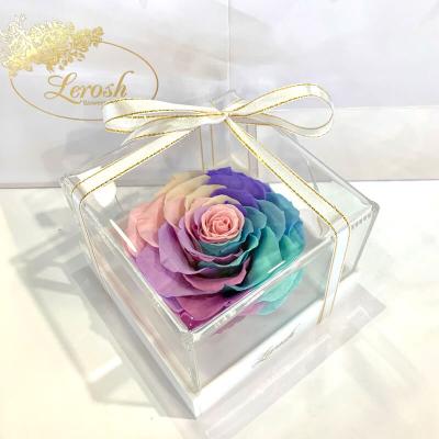 Ніжний Райдужний стабілізований бутон троянди в подарунковій коробці Lerosh - Premium ORIGINAL