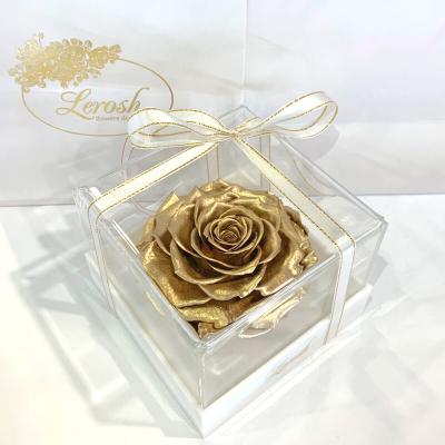 Золотий стабілізований бутон троянди в подарунковій коробці Lerosh - Premium ORIGINAL
