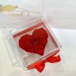 Красный стабилизированный бутон розы сердце в подарочной коробке Lerosh - Premium ORIGINAL