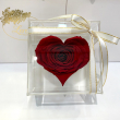 Бордовый стабилизированный бутон розы сердце в подарочной коробке Lerosh - Premium ORIGINAL