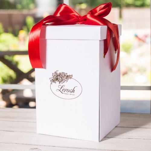 Подарочная ВАУ коробка белая для розы в колбе Lerosh 27 см ORIGINAL