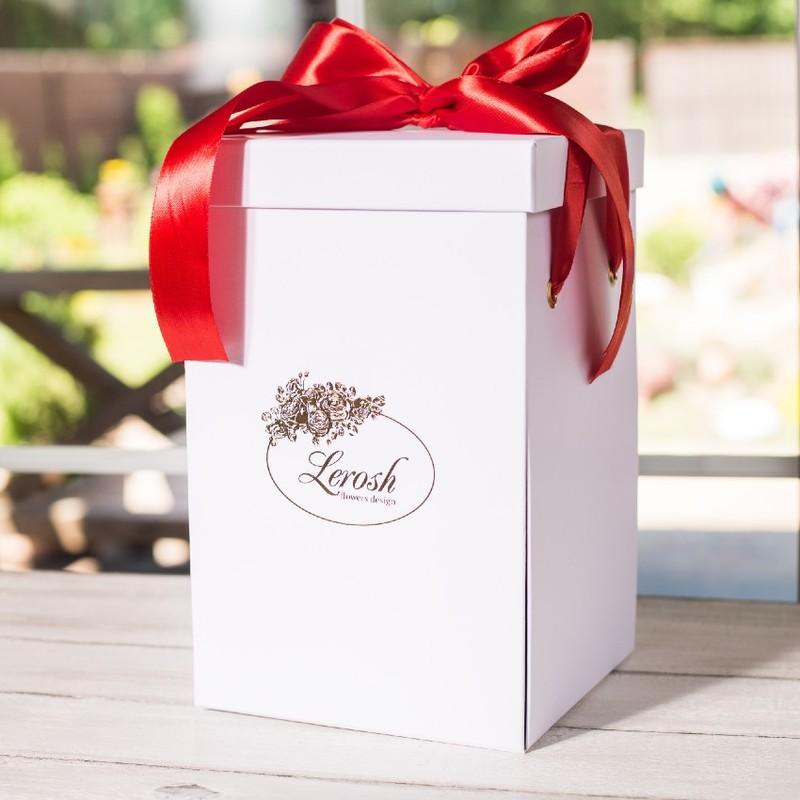 Подарункова ВАУ коробка біла для троянди в колбі Lerosh 43 см