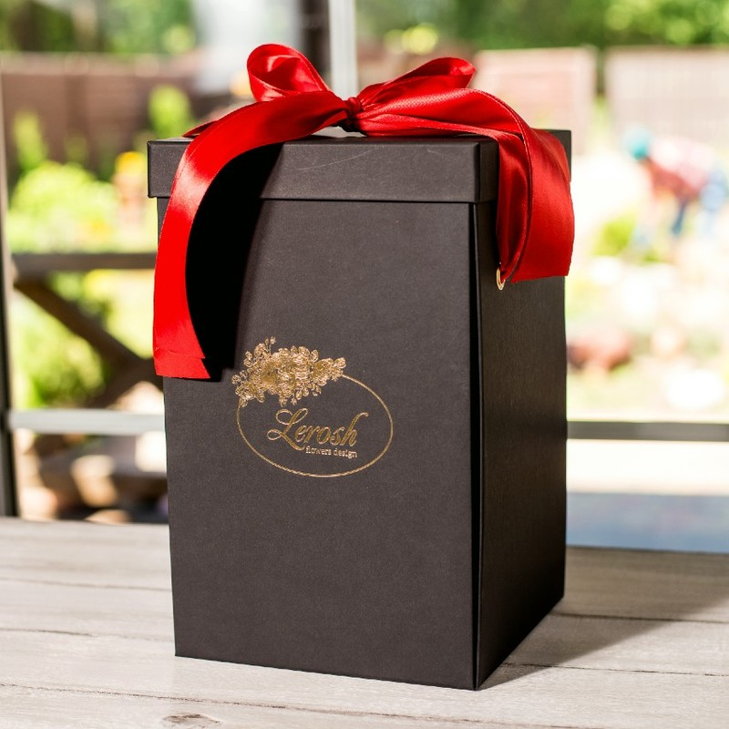 Подарункова ВАУ коробка чорна для троянди в колбі Lerosh 33 см