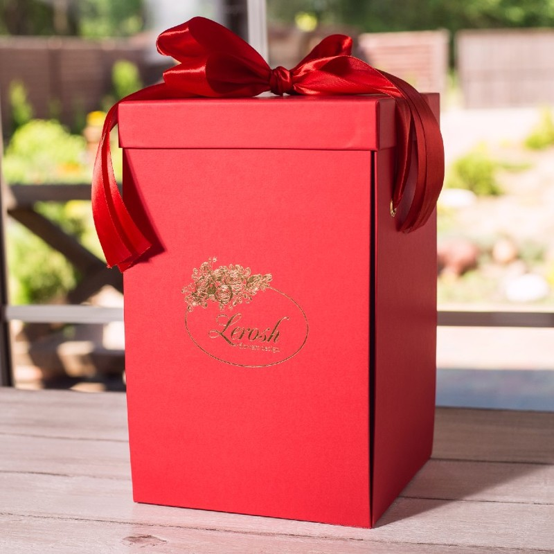 Подарункова ВАУ коробка червона для троянди в колбі Lerosh 33 см