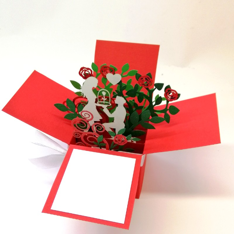 Об'ємна ексклюзивна листівка коробочка Троянда в колбі